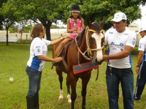Patient is supported during a session of hippotherapy