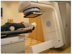 Patient undergoes radiation therapy session in a specialized hospital