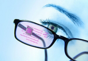 Eyewear interactive equipped with a small chip, which will serve as an eye tracker, will allow the user to select the data to be viewed