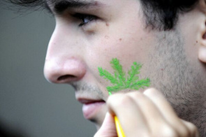 Protesters make the Marijuana March by Flamengo