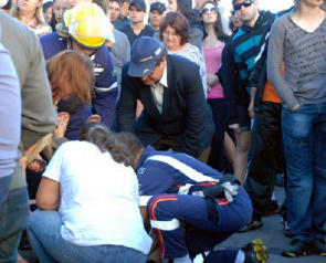 People present at the tragedy, who sought medical care, symptoms of chemical pneumonia
