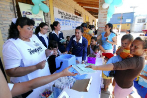 City Mariscal Estigarribia in Paraguay. Citizens go to local vaccination during the 7th Vaccination Week in the Americas