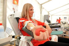 Donor during a blood collection session at WHO headquarters in Geneva, Switzerland