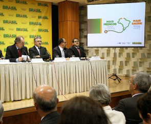 Alexandre Padilha, Minister of Health, and Aloisio Mercadante, Minister of Education, during a meeting with rectors in Brasilia