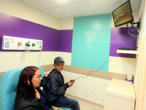 Sector has TVs and video games for children's entertainment during the infusion of chemotherapeutic