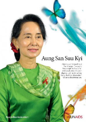 The Nobel Peace Prize winner Aung San Suu Kyi on campaign poster against discrimination