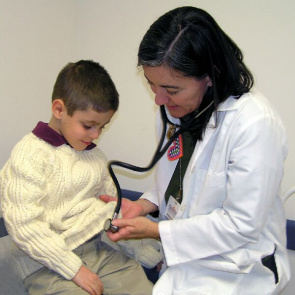 Child undergoes examination for appointment to the pediatrician.