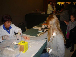 Health professionals perform blood glucose testing in concert